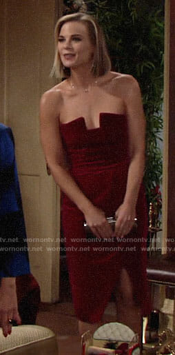 Phyllis's red strapless velvet dress on The Young and the Restless