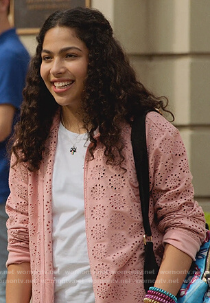 Molly's pink eyelet jacket and floral jeans on Marvel's Runaways