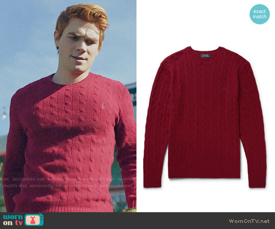 Polo Ralph Lauren Slim-Fit Cable-Knit Wool And Cashmere-Blend Sweater worn by Archie Andrews (K.J. Apa) on Riverdale