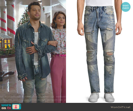 Le Sabre Slim Fit Moto Jeans by PRPS worn by Rafael de la Fuente on Dynasty