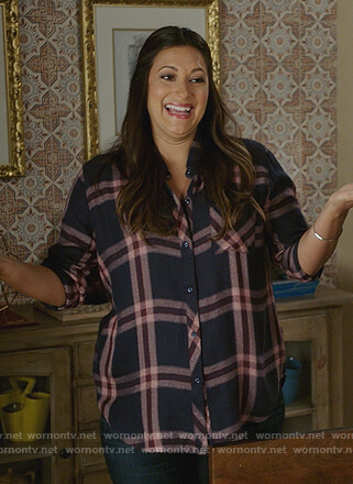 WornOnTV: Colleen's navy and pink plaid shirt on Life in Pieces