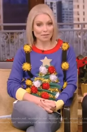 Kelly's blue christmas tree sweater on Live with Kelly and Ryan