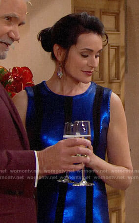 Quinn's blue striped sequin Christmas dress on The Bold and the Beautiful