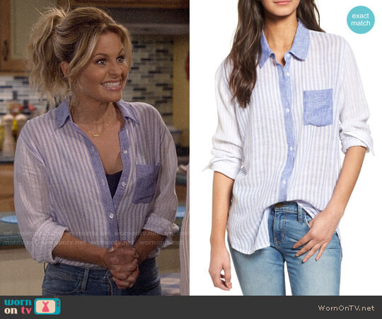 Rails Charli Stripe Shirt worn by DJ Tanner-Fuller (Candace Cameron Bure) on Fuller House