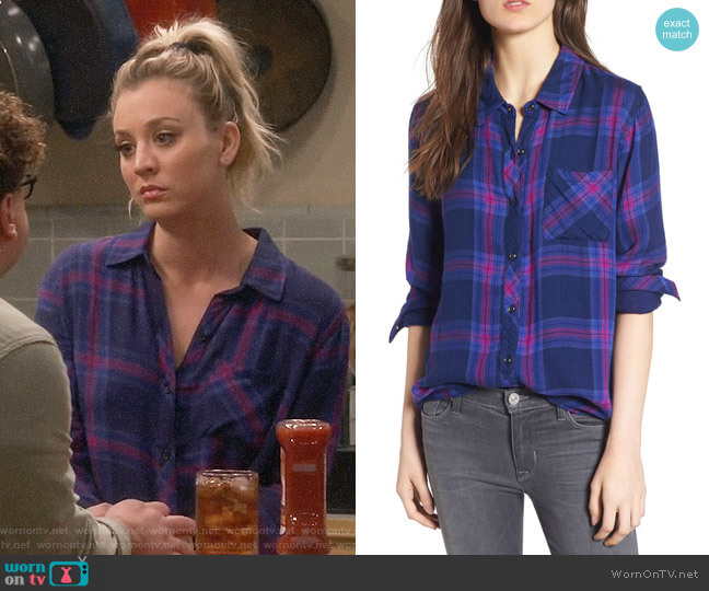 Rails Taitum Plaid Shirt in Navy Ultra Violet worn by Penny Hofstadter (Kaley Cuoco) on The Big Bang Theory