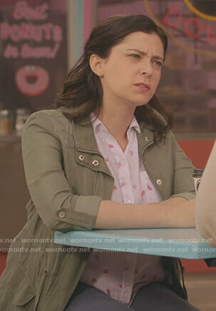 Rebecca's white watermelon print shirt on Crazy Ex-Girlfriend