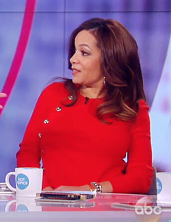 Sunny's red button embellished sweater on The View