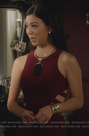 Tina's red cutouts sleeveless dress on Marvel's Runaways