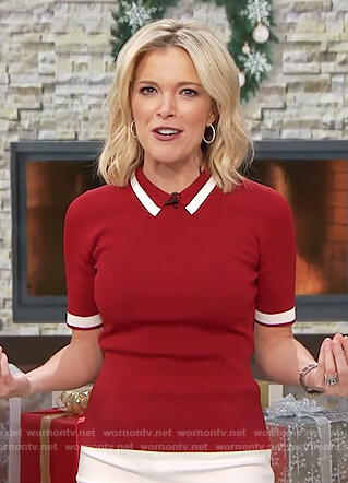 Megyn's red striped polo shirt on Megyn Kelly Today