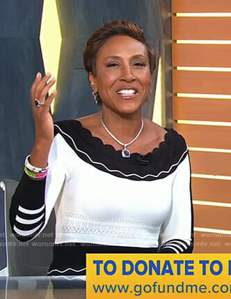 Robin's black and white scalloped dress on Good Morning America