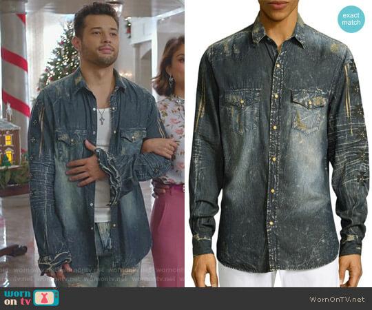 Denim Cotton Casual Button-Down Shirt by Robin's Jeans worn by Sam Flores (Rafael de la Fuente) on Dynasty