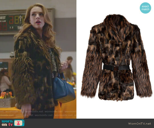 Belted Faux Fur Patrice Jacket by Rodejber worn by Fallon Carrington (Elizabeth Gillies) on Dynasty