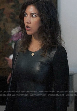 Rosa's black long sleeved leather dress on Brooklyn Nine-Nine