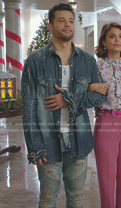 Sam's washed denim shirt and distressed jeans on Dynasty