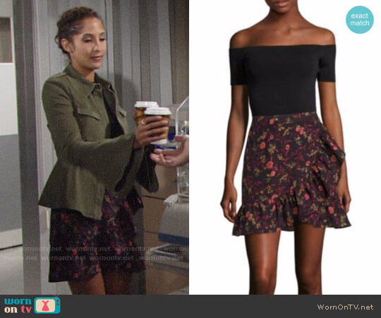 Scripted Faux Wrap Ruffle Mini Skirt worn by Christel Khalil on The Young & the Restless