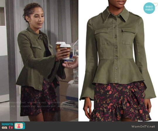 Scripted Military Peplum Jacket worn by Christel Khalil on The Young & the Restless