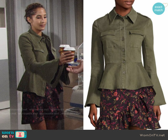 Scripted Military Peplum Jacket worn by Lily Winters (Christel Khalil) on The Young & the Restless
