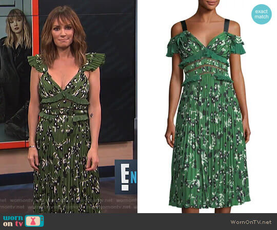 Floral-Print Midi Dress with Pleats & Frills by Self Portrait worn by Catt Sadler on E! News