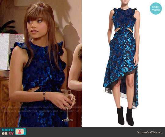 Self Portrait Floral Devore Velvet Sleeveless Cutout Asymmetric Dress worn by Reign Edwards on The Bold & the Beautiful