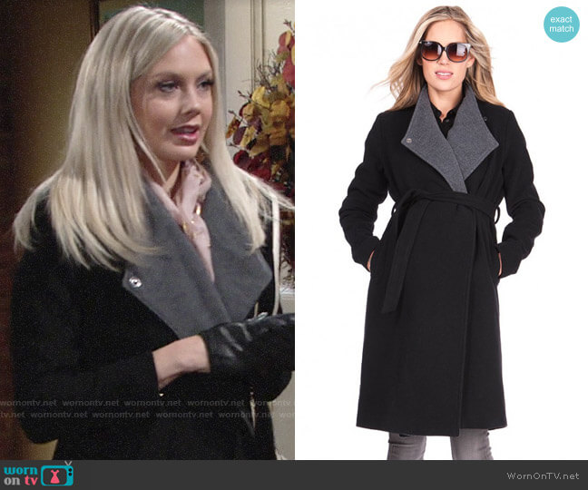 Seraphine Wool & Cashmere Black Maternity Coat  worn by Abby Newman (Melissa Ordway) on The Young & the Restless