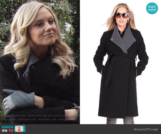 Seraphine Wool & Cashmere Black Maternity Coat  worn by Melissa Ordway on The Young & the Restless