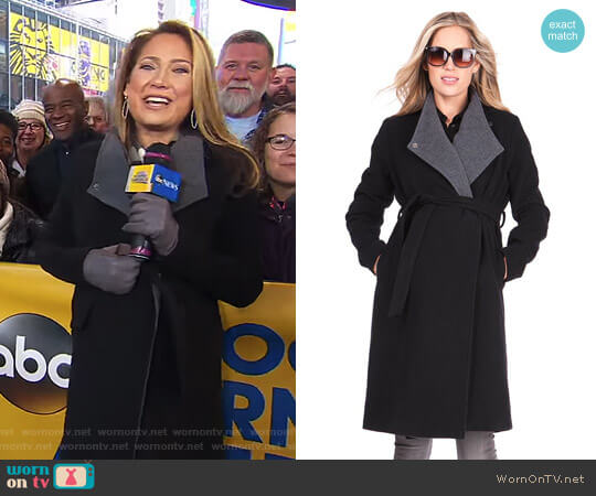 Wool & Cashmere Black Maternity Coat by Seraphine worn by Ginger Zee on Good Morning America