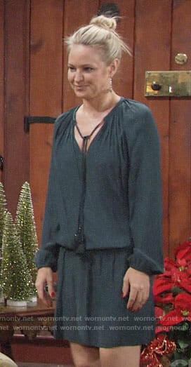 Sharon's green long sleeved dress with tassels on The Young and the Restless