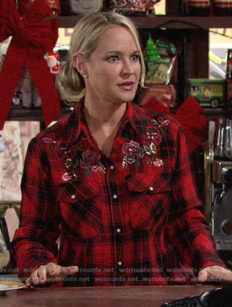 Sharon's red plaid shirt with beading on The Young and the Restless