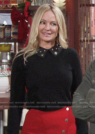 Sharon's black embellished collar sweater and red button front skirt on The Young and the Restless