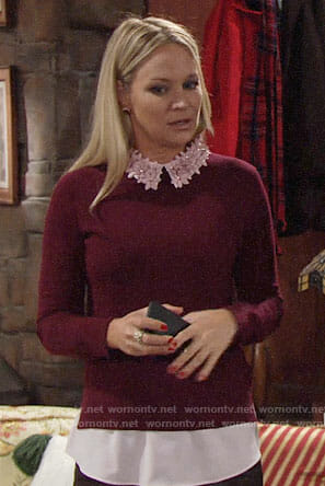 Sharon's burgundy sweater with pink floral collar on The Young and the Restless