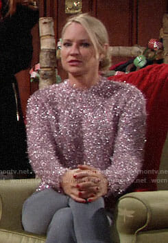 Sharon's metallic pink sweater on The Young and the Restless