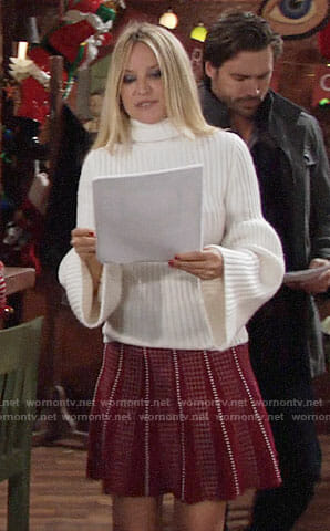 Sharon's white bell-sleeve sweater and red dotted skirt on The Young and the Restless