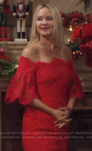 Sharon's red lace off-shoulder NYE dress on The Young and the Restless