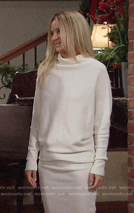 Sharon's white sweater dress on The Young and the Restless