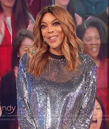 Wendy's silver sequin top on The Wendy Williams Show