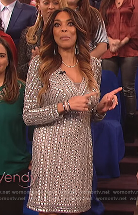 Wendy's silver studded sheath dress on The Wendy Williams Show