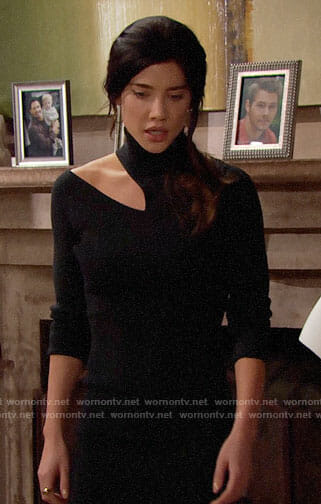 Steffy's black turtleneck dress with cutout on The Bold and the Beautiful