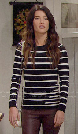 Steffy's black and white striped sweater on The Bold and the Beautiful