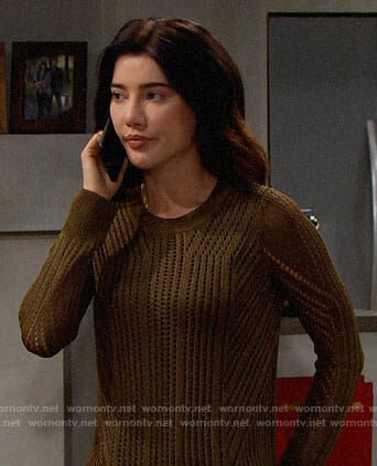 Steffy's olive green pointelle sweater on The Bold and the Beautiful
