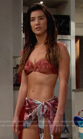 Steffy's ruffled bikini on The Bold and the Beautiful