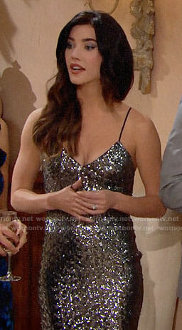 Steffy's silver Christmas dress on The Bold and the Beautfiul