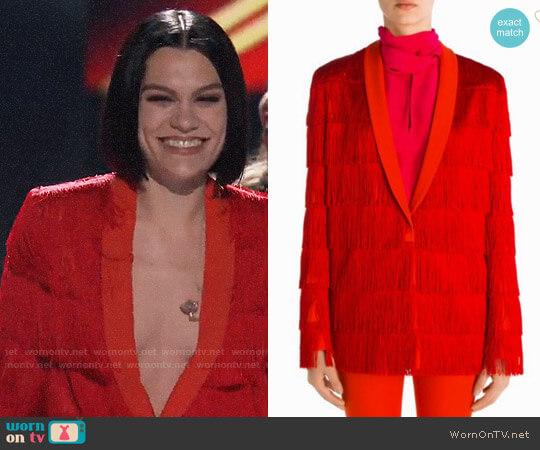 Stella McCartney Tia Wool Fringe Jacket worn by Jessie J on The Voice