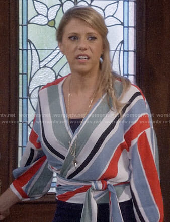 Stephanie's striped wrap top on Fuller House