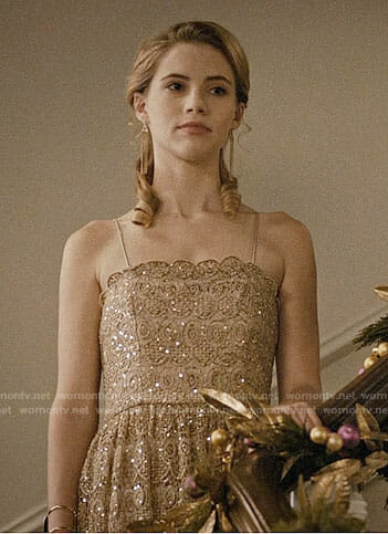 Stevie's gold party dress on Madam Secretary