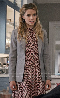 Stevie's geometric print dress on Madam Secretary