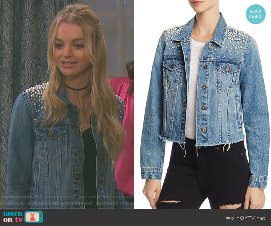 Mother-of-Pearl Denim Jacket by Sunset & Spring worn by Claire Brady (Olivia Keegan) on Days of our Lives
