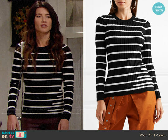 T by Alexander Wang Fitted Striped Sweater worn by Steffy Forrester (Jacqueline MacInnes Wood) on The Bold & the Beautiful