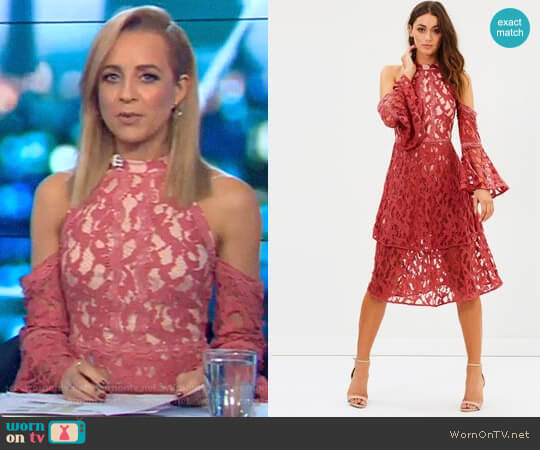 Talulah Genre Halter Dress worn by Carrie Bickmore on The Project
