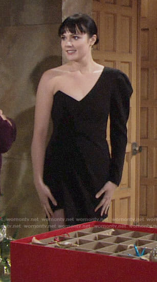 Tessa's black one-sleeve dress on The Young and the Restless