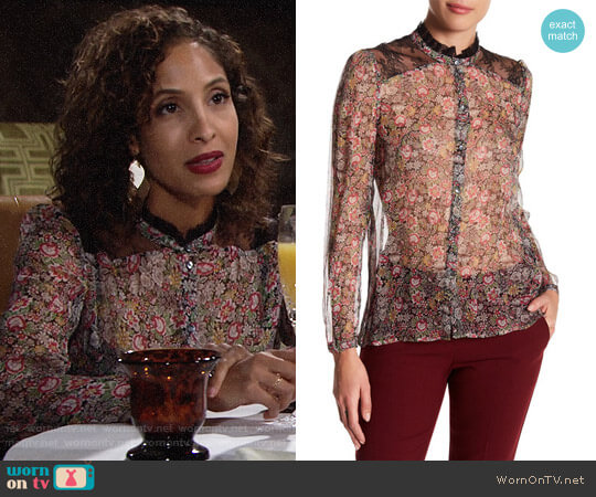 The Kooples Lace Trim Floral Print Silk Shirt worn by Christel Khalil on The Young & the Restless